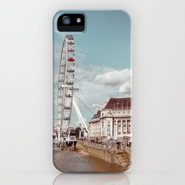 Postcard Picture of the London Eye & The Thames, moody blue tint iPhone Case