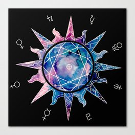 Crystal Sun | Planet Symbol | Watercolor Canvas Print