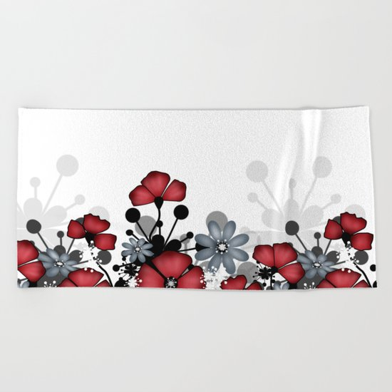 Red flowers on a white background . Beach Towel