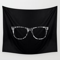 glasses Wall Tapestries featuring GLASSES by Randomleafy