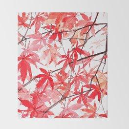 red orange maple leaves watercolor painting 2 Throw Blanket