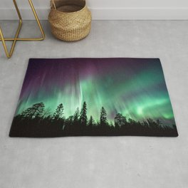 Colorful Northern Lights, Aurora Borealis Rug