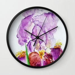 Pinky Purple Iris Bloom watercolor by CheyAnne Sexton Wall Clock