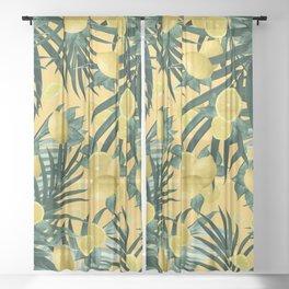 Summer Lemon Twist Jungle #3 #tropical #decor #art #society6 Sheer Curtain