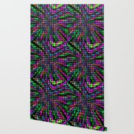geometric circle abstract pattern in pink blue green black Wallpaper