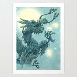The Night Gardener - The Dragon Tree, Night Art Print