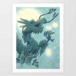 The Night Gardener - The Dragon Tree, Night Art Print