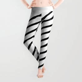 Stripes Diagonal Black White Minimal Design Leggings