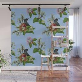 Tui in Pohutukawa Flowers Wall Mural