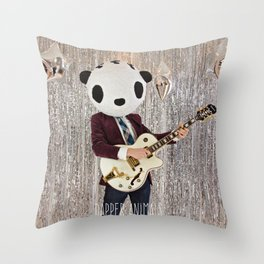 Peter Panda Rocking Out Throw Pillow