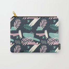 Abstract blue pink white teal brushstrokes floral Carry-All Pouch