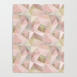 Broken glass in light pink tones. Poster