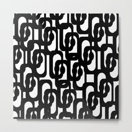 Black and White Mid-century Modern Loop Pattern Metal Print