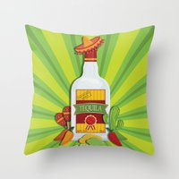 tequila Throw Pillows featuring Tequila Time by Matt Andrews