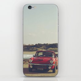 Triumph Spitfire by the sea, with ship, fine art photo, british car, sports car, color, high definit iPhone Skin