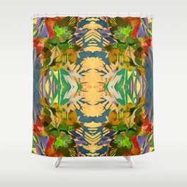 Watercolor Iris Flower with Shadows - Gold Shower Curtain