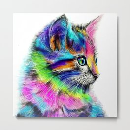 CAT--FluO Metal Print