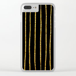 Art Deco Glitter-Gold Vertical Wavy Lines on Black Clear iPhone Case