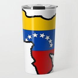 Venezuela Map with Venezuelan Flag Travel Mug