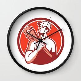 Tradesman Plumber Wrench Circle Retro Wall Clock