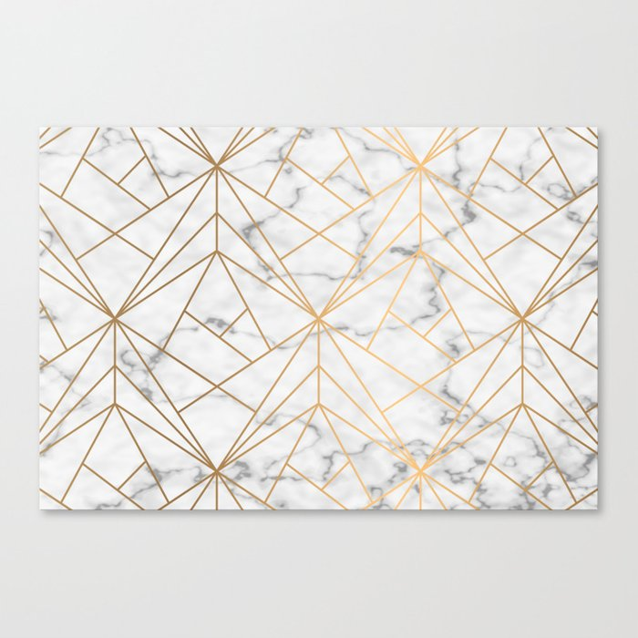 Gold Geometric Pattern On Marble Canvas Print By Esmclennon Society6