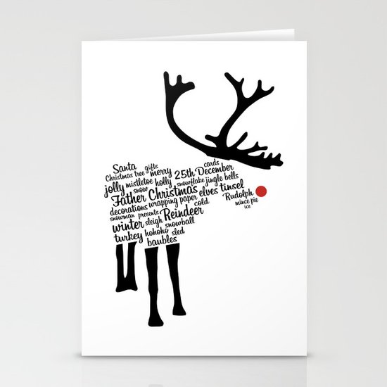 Rudolph Typography Stationery Cards