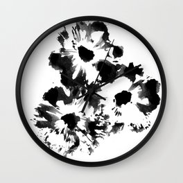 Black Cosmos Flowers Wall Clock
