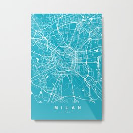 Milan Italy Map | Blue & Cyan | More Colors, Review My Collections Metal Print