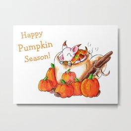 Pumpkin Spice Piggy (With Text) Metal Print