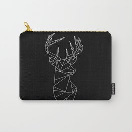 Geometric Stag (White on Black) Carry-All Pouch