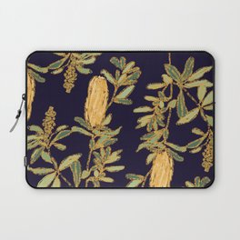 Banksia on Indigo Blue Botanical Illustration Laptop Sleeve