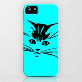 Aqua Kitty Cat Face iPhone Case