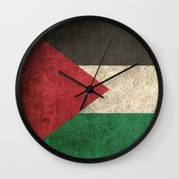 palestine Wall Clocks featuring Old and Worn Distressed Vintage Flag of Palestine by Jeff Bartels