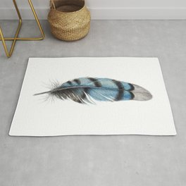 Blue Jay Feather | Watercolour Painting Rug