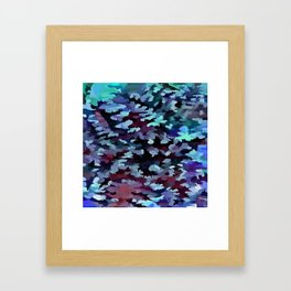 Foliage Abstract Camouflage In Aqua Blue and Black Framed Art Print