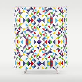 Geometric Pattern Colorful, white background. Good vibes by Cokowo. Shower Curtain