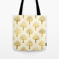 gold foil Tote Bags featuring Cream Gold Foil 02 by Aloke Design