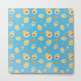 Egg Faces and Yolks with blue background Pattern Metal Print