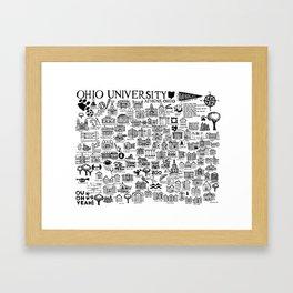 Ohio University Map Framed Art Print