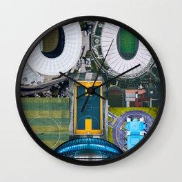 Stadium Aerial Views Collage Digital Portrait Wall Clock
