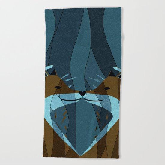 Gorgeous Foxes Kiss Design Beach Towel