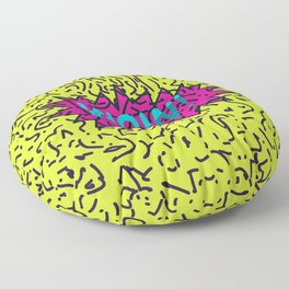 Neon Retro 80's 90's Scribbled Wow! Typography Floor Pillow