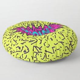 Neon Retro 80's 90's Scribbled Wow! Typography Floor Pillow