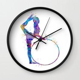 Rhythmic Gymnastics Art Gymnastic Hoop Girl Art Colorful Blue Purple Watercolor Art Flexible Girls Wall Clock