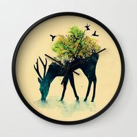 lime green Wall Clocks featuring Watering (A Life Into Itself) by Picomodi