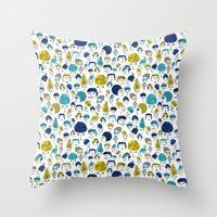 faces Throw Pillows featuring Faces by Sahily Tallet Yip