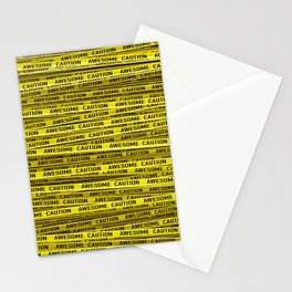 AWESOME, use caution / 3D render of awesome warning tape Stationery Cards