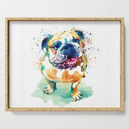 Watercolor Bulldog Serving Tray