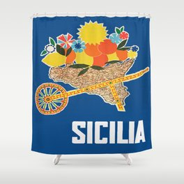 Sicilia - Sicily Italy Vintage Travel Shower Curtain