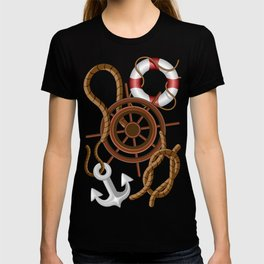 Nautical Marine and Navigation Seamless Pattern T-shirt